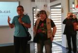 Antoni Cortiñas i José Luis Olesti fent els parlaments de presentació